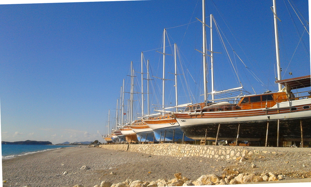 Demre Beach boats